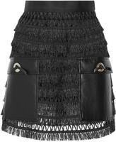 Toga Pulla faux leather-paneled fringed cotton mini skirt