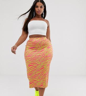 New Girl Order Curve bodycon midi skirt in neon zebra print-Pink