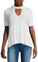 Almost Famous Elbow-Sleeve Ribbed Mockneck Swing Tee - Juniors