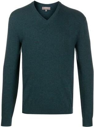 N.Peal V-neck ribbed knit jumper