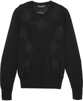 Dolce & Gabbana Lace-paneled Cashmere-blend Sweater - Black