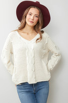 Neely Cable Knit Chenille Hoodie Ivory S