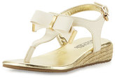 MICHAEL Michael Kors Perry Crysty Wedge Thong Sandal, Off White, Youth