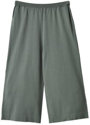 Oyuna Joss Wide Knitted Green Mist Cotton Trousers