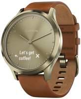 Garmin Unisex vívomoveandtrade; HR Brown Leather Strap Hybrid Smart Watch 43mm