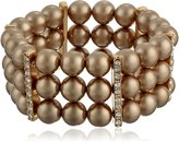Amazon Collection Simulated Pearl and Clear Crystal Triple Row Stretch Bracelet