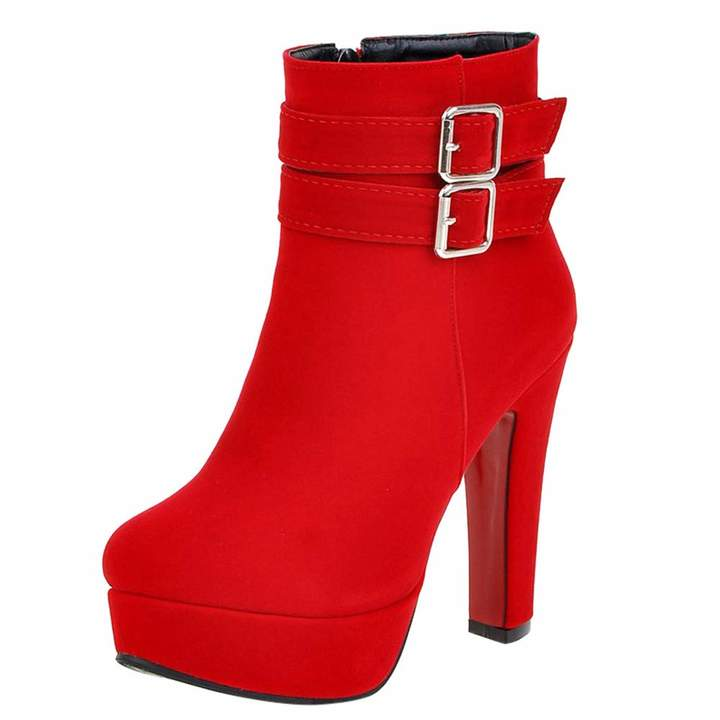735fdbbd1797f Hunzed women shoes Buckle Round Head high Heel Thick Ankle Boots