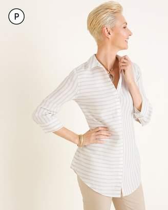 No Iron Petite Linen Striped Side-Button Tunic