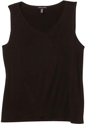 Eileen Fisher V-Neck Shell (Black) Women's Clothing
