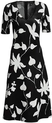 St. John Floral Jacquard Knit V-Neck Dress