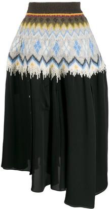 Loewe Graphic Print Asymmetric Skirt