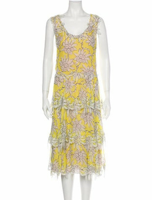 Valentino Silk Midi Length Dress Yellow