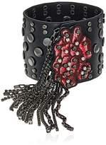 Steve Madden Casted Floral Tassel Bangle Bracelet