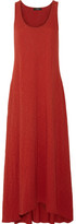 Theory Laurem Asymmetric Slub Cotton-jersey Maxi Dress - Claret
