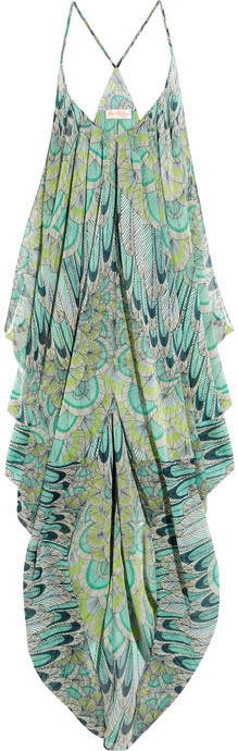 Mara Hoffman Feather-print georgette beach dress