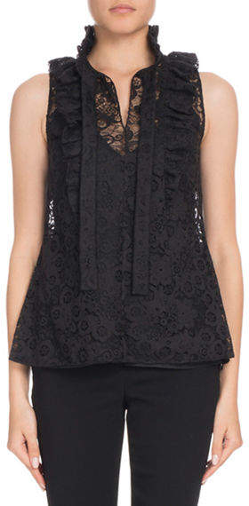 Altuzarra Valencienne Sleeveless Tie-Neck Lace Top