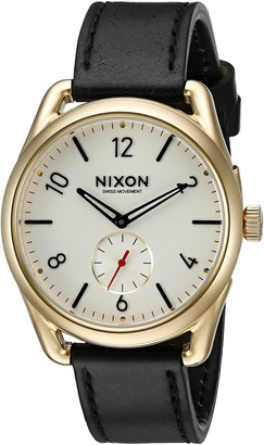 Nixon Men's A4592226-00 C39 Leather Analog Display Quartz Black Watch