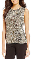 Calvin Klein Metallic Geometric Print Knit Jersey Pleat Neck Shell