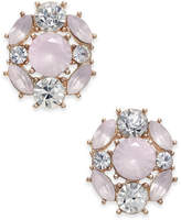 Charter Club Rose Gold-Tone Crystal & Pink Stone Stud Earrings, Created for Macy's