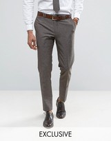 Noak Skinny Suit Trousers In Linen Nepp