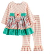 Rare Editions Baby Girl Paisley Lace Top & Leggings Set
