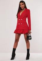 Missguided Hayden Williams X Red Pleated Hem Blazer Dress