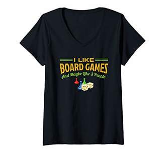Womens I Like Board Games And maybe Like 3 People V-Neck T-Shirt