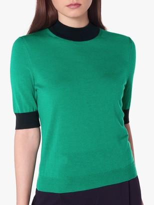 LK Bennett Hanna Merino Wool Short Sleeve Knit Jumper, Green/Blue