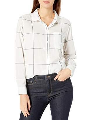 Goodthreads Lightweight Poplin Long-sleeve Boyfriend Shirt Button, White/Navy Windowpane, XXL