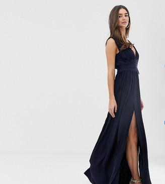 Asos DESIGN Tall Premium Lace Insert Pleated Maxi Dress