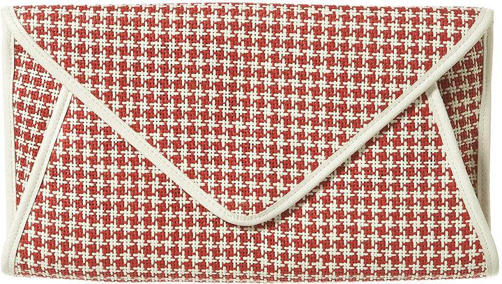 Topshop Check Straw Envelope Clutch