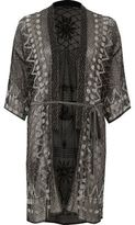 River Island Womens Black embellished tie waist kimono