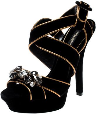 Dolce & Gabbana Black Velvet Metallic Gold Leather Trim Crystal Embellished Cross Strap Platform Sandals Size 38