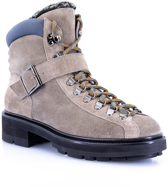 Santoni Suede Lace-Up Winter Hiker Boots