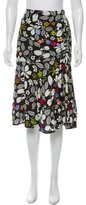 Suno Embroidered Floral Print Skirt