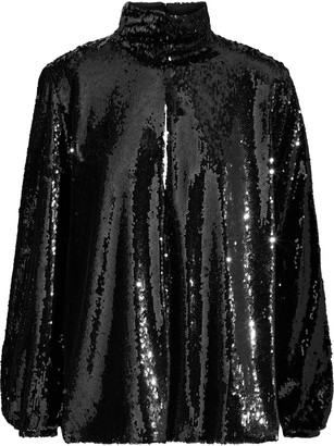 Racil Cher Split-back Cutout Sequined Tulle Blouse