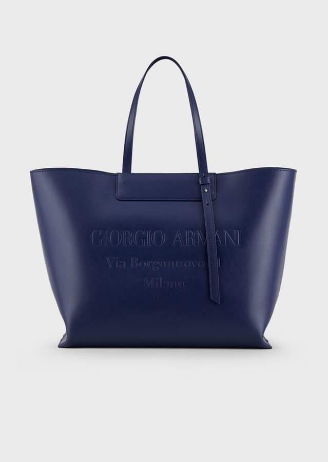 8abc3fb6da Large Leather Shopper Bag With Tone-On-Tone Embossed Logo