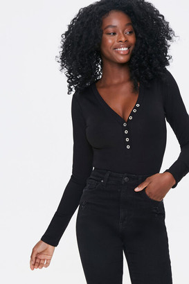 Forever 21 Button-Front Bodysuit