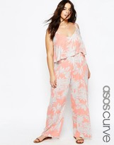Asos Floral Print Frill Beach Jumpsuit