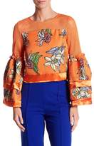 Gracia Bell Sleeve Embroidered Floral Mesh Blouse
