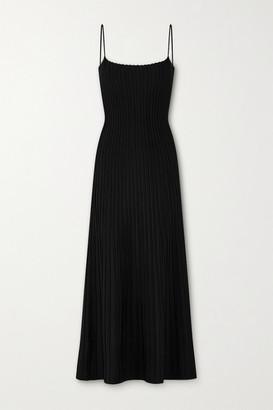 CASASOLA Net Sustain Carlotta Ribbed Stretch-knit Midi Dress - Black