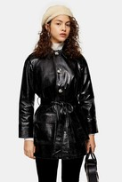 Topshop Womens Petite Black Faux Leather Crocodile Shacket - Black