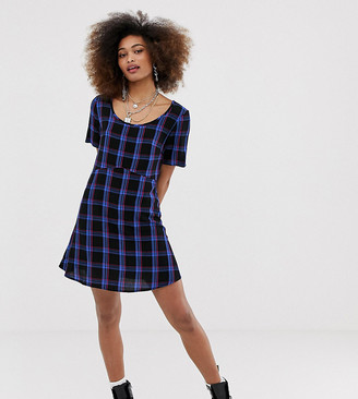 Collusion smock mini dress in check