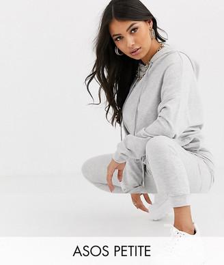 ASOS DESIGN Petite tracksuit hoodie / slim jogger with tie