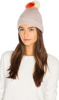 Autumn Cashmere Multicolor Fox Fur Pom Pom Hat in Gray.