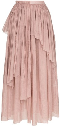 Vika Gazinskaya Asymmetric Pleated Midi Skirt