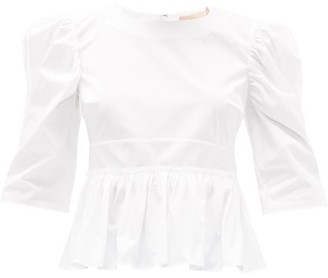 Brock Collection Puff-sleeved Cotton-blend Top - Womens - White