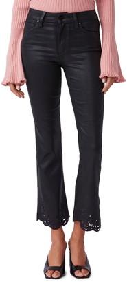 Paige Claudine Rose Hem High Waist Ankle Flare Jeans