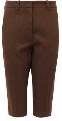 Marine Serre Crescent Moon-jacquard Wool-blend Shorts - Brown