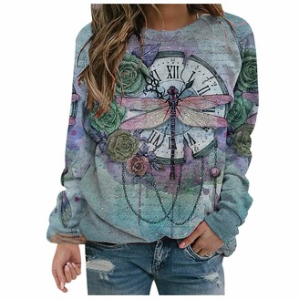 Todidaf 2020 Women's Winter Fashion Blouse Dragonfly Flower Watch Printed Casual Tie Dye Long Sleeve Round Neck Long Sleeve Top Blue